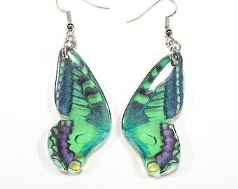 Green butterfly earrings, Christmas gift, green bug earrings, handmade jewellery, drop earrings, accessories for her,