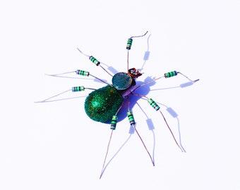 Green Spider Framed Wall Art | Recycled Sculpture