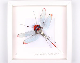 Red Tip Wing Dragonfly Framed Wall Art | Recycled Sculpture