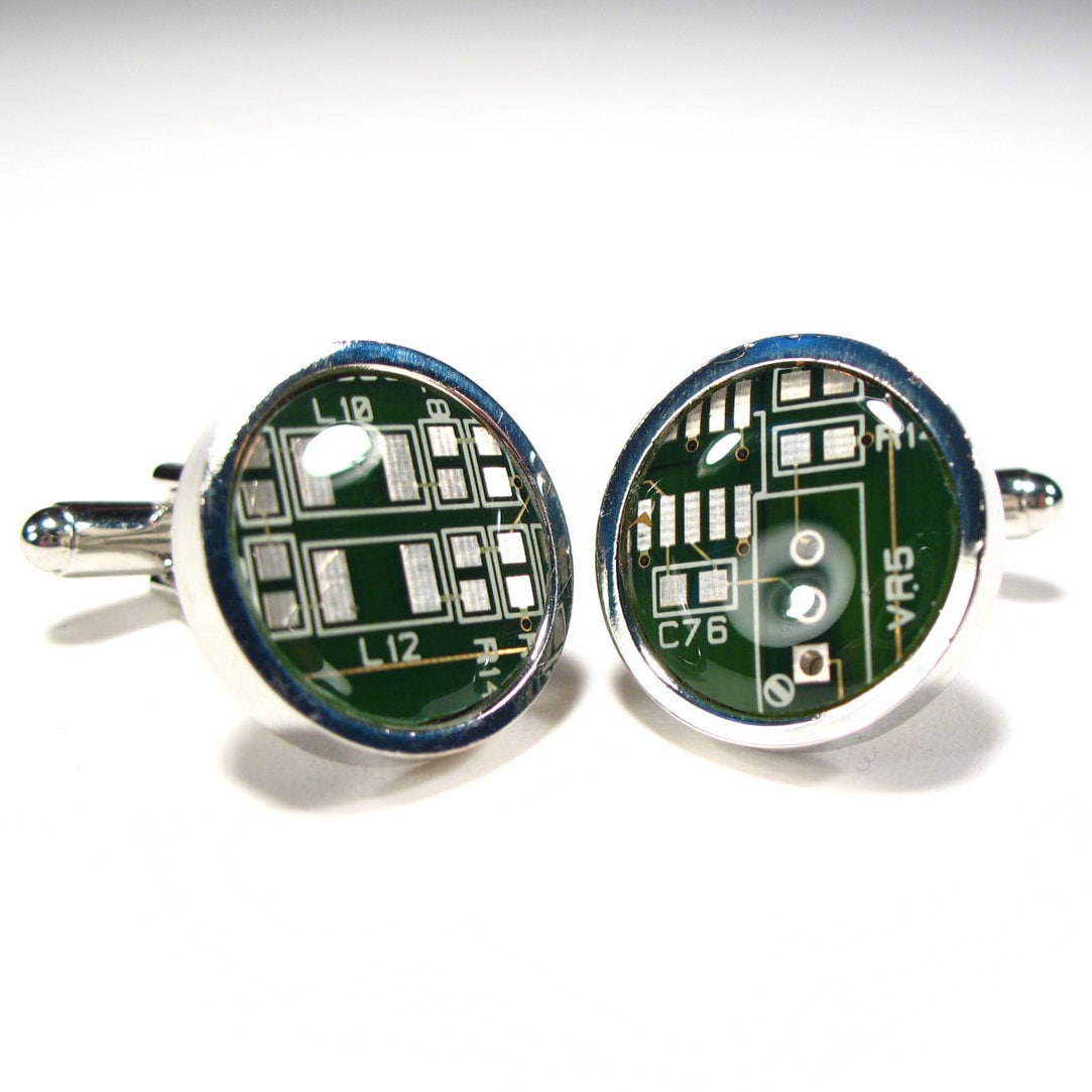 Dark Green Circuit Board Cufflinks Recycled Etsy The Wall Clock Recycles Printed Boards Pcbs Zoom