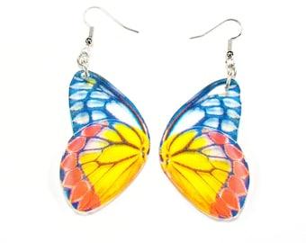 Translucent butterfly earrings, Christmas gift, blue bug earrings, handmade jewellery, drop earrings, accessories for her,
