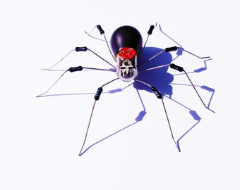 Black Widow Spider Framed Wall Art | Recycled Sculpture