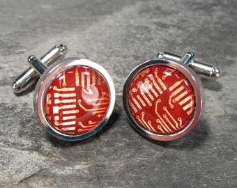 Red & Copper Computer Cufflinks, Recycled Cufflinks, Christmas Gift For Him, Gift for Engineer, Electronic, Men's Accessories, Motherboard.