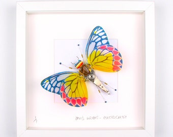 Blue & Yellow Butterfly Framed Wall Art | Recycled Sculpture
