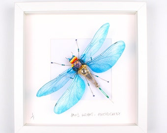 Blue & Purple Dragonfly Framed Wall Art | Recycled Sculpture
