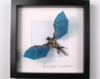 Blue Bat Framed Wall Art | Recycled Sculpture