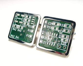Circuit Board Cufflinks Unique Cufflinks Handmade Gift Men's Accessory Geek Gift Husband Gift Male Gift Motherboard  Gift For Him
