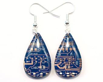 Circuit Board Earrings Teardrop Earrings Recycled Jewelry PCB Accessory Techie Jewellery Geek Gift Dangle Earrings