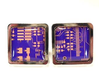Steampunk Cufflinks, Copper Cufflinks, Purple Cufflinks, Formal Wear,  Gift For Him Boyfriend Present Technician Gift.