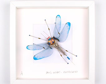 Blue Dragonfly Framed Wall Art | Recycled Sculpture