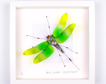Green & Yellow Dragonfly Framed Wall Art | Recycled Sculpture