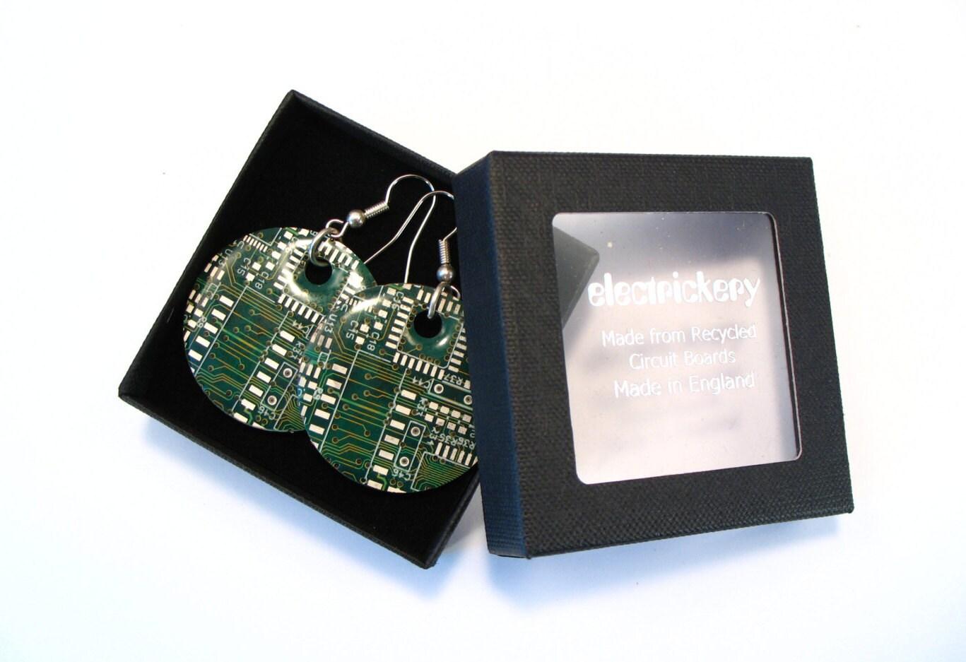 Recycled Round Copper & Green Circuit Board Earrings - Geek