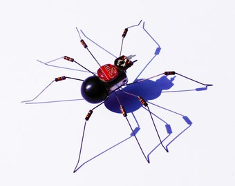 Small Black Widow Spider Framed Wall Art | Recycled Sculpture