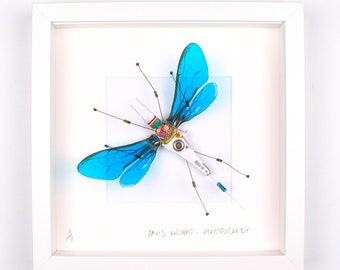 Blue Arthropod Framed Wall Art | Recycled Sculpture