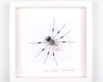 Light Bulb Spider Framed Wall Art | Recycled Sculpture