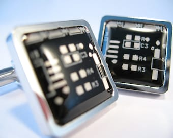 Gift For Dad PCB Cufflinks Black Cufflinks Square Cufflinks Geek Cufflinks Christmas Gift For Him Father Gift Electronic Gift Man Accessory