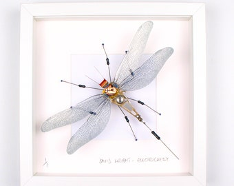 Black Dragonfly Framed Wall Art | Recycled Sculpture