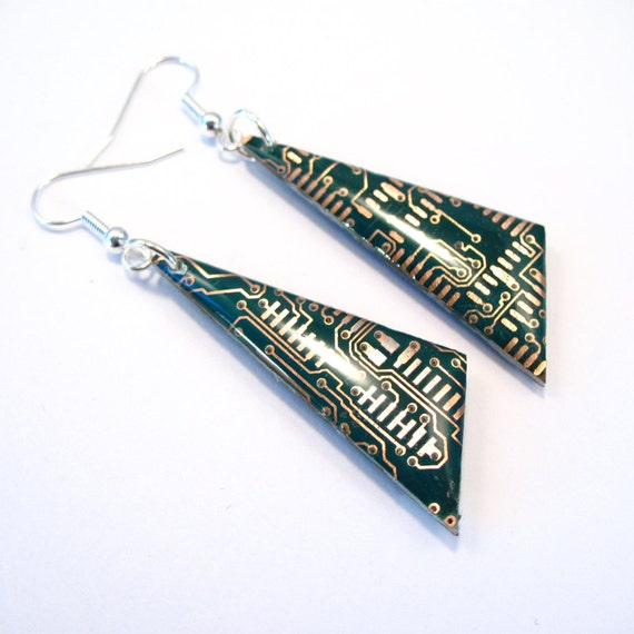 Circuit Board Earrings Green Recycled Jewelry PCB Techie Silver Jewellery Geek Motherboard Computer Chip Gift for Her Techie