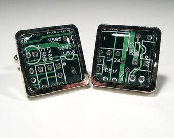 Square Dark Green Circuit Board Cufflinks  Gift Geek Cufflinks Men's Gift Electronic Accessory Eco Recycled  Gift For Him