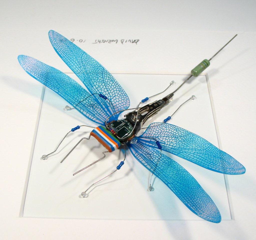 Electrickery Steampunk Libelle blaue Libelle Wall Art Skulptur   Etsy