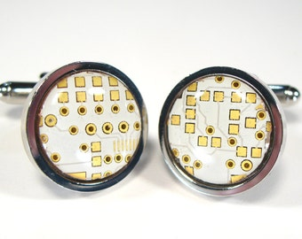 Circuit Board Cufflinks White Round Geek Jewelry  Gift For Him Computer Chip Electronic PCB Accessory Eco Recycled Motherboard