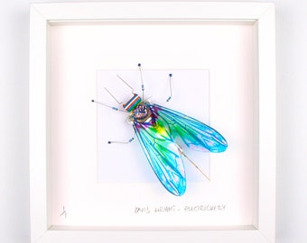 Blue Fly Framed Wall Art | Recycled Sculpture