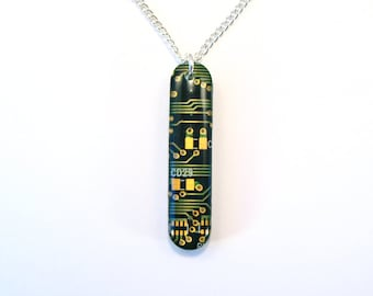 Recycled Green Circuit Board Pendant - Geek Necklace - Computer Pendant - 40mm x 9mm