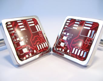 Red Square Cufflinks  Gift For Him Suit Accessory Computer Chip Formal Wear Recycled Wedding Accessory Eco Cufflinks Motherboard