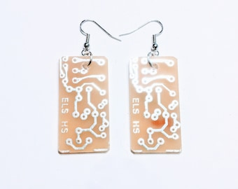 Rectangle Silver And White Recycled Circuit Board Earrings.