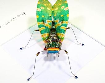 Green Cicada Framed Wall Art | Recycled Sculpture