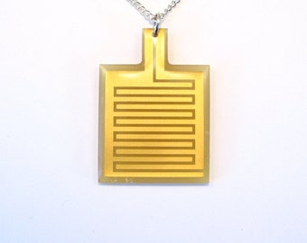 Circuit Board Necklace Gold Pendant Recycled Jewelry PCB Jewellery Green Geek Nerd Motherboard Computer Chip Gift for Her Techie