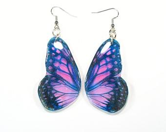 Purple butterfly earrings, Christmas gift, purple bug earrings, handmade jewellery, drop earrings, accessories for her,