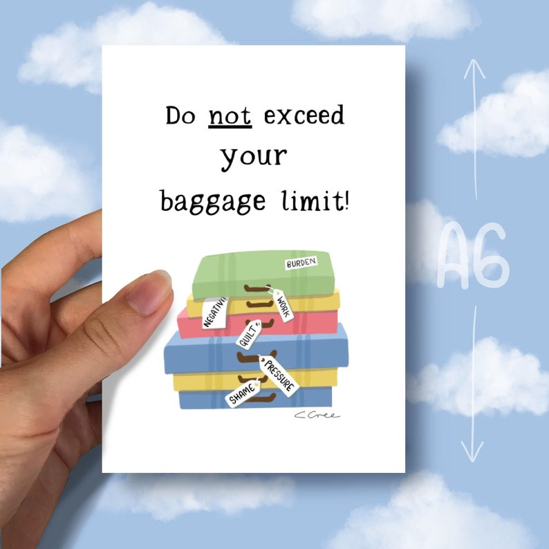 Baggage limit  Positivity Print A6 image 0