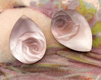 Vintage 18x13mm Pear Glass Rose Cabochon Gem Jewel Stone Embossed Rhinestone Amethyst Purple Variation Teardrops - Old Hollywood - 2 PCS