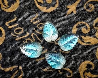 Vintage 13x8 Pear Givre Two Tone Leaf Aquamarine Blue Crystal Clear Flatback Rhinestone Jewel - Rare Pressed Glass West German - 4 pcs