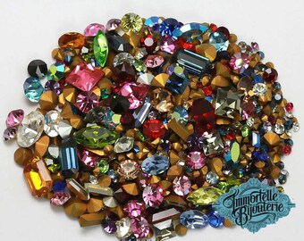 Vintage Swarovski Rhinestone Lot Fancy Crystal Clay Mix 10pp - 34SS - Vintage First Quality Crystal - Mixed Colors Shapes & Sizes - 15 Grams
