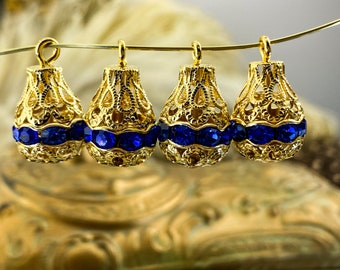 Filigree Drop Sapphire Rhinestone Bead Pendant 20mm x 13mm -  Decorative Filigree Sapphire Blue Drops Brass Bead Findings - 2 pcs