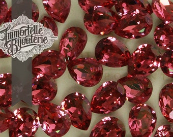 6x4mm Rose Pink Champagne Pear Shape Swarovski Rhinestones - Article 4320 - Authentic First Quality Machine Cut Crystal - 6pcs
