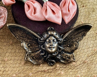 Large Angel Fairy Face Brass Stamping - Winged Flying Nymph Fantasy - Antique Brass Relic Patina - 76x54mm - 1pc