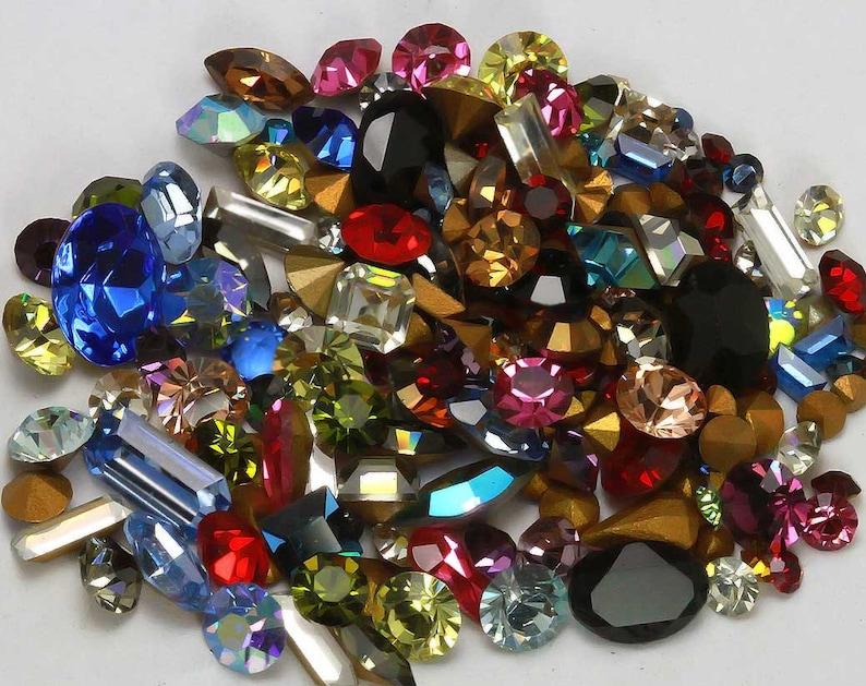 Vintage Swarovski Rhinestone Lot Crystal Clay Mix Sample Pack image 0