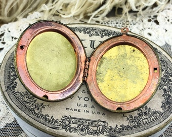 Vintage Shabby Brass Locket Locket Blank 46x39mm Raw Large Naturally Aged  - Gorgeous Aged Distressed Creative Piece! Limited Supply
