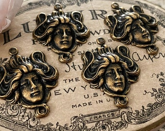 Antique Brass Gibson Girl Art Nouveau Woman Stamping 2 Rings - Victorian Goddess Lady Nymph Baroque Finding - Relic Patina - 31x20mm - 4pcs