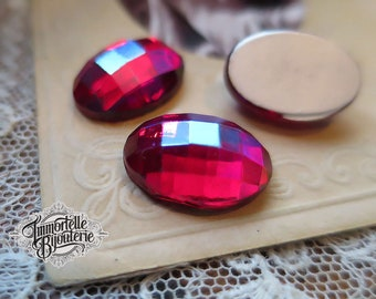 16x11 Siam Ruby Red AB Vintage Checkerboard Ovals Flatback  - Ultra Rare - High Quality West German - 2 pcs