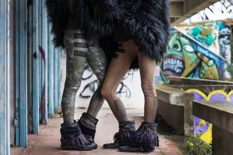 Pirate festival clothing UADJET LEGGINGS Alternative Handmade Leggings. Brown Version Reptile print leggings with net details