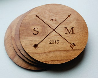 Wood Coaster Set, Personalized Coasters, Husband Gift, Monogrammed Gift, Established Date, Arrows, Christmas Gift, Wedding, Gift For Her