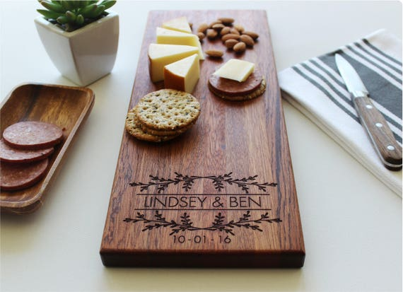 monogram cutting board Custom Engagement Gift for couple Personalized Bridal Shower Gift Wedding Gift Personalized Cheese Board 008