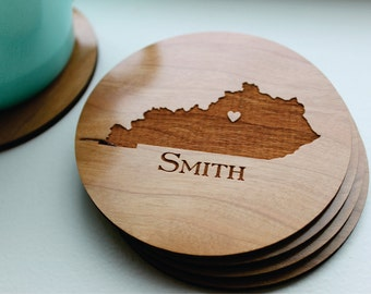 Personalized State Coasters, Engraved Wood Coasters, Personalized Womens, Valentines Day, Wedding, Anniversary Gift, Housewarming Gift