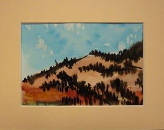 Red land - passe-partout watercolor painting landscape painting cream total size 20 X 30 cm