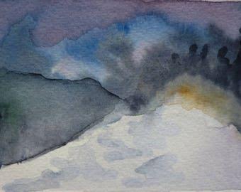 Evening mist - unique and original watercolor on card. Snow landscape