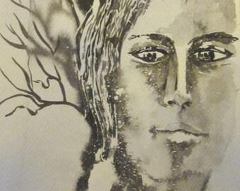 Naïs, een zachtaardige ziel - ink portret - formaat rechthoekige verticale 20X40cm op aquarel papier